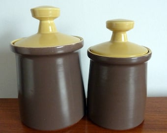A Pair of Vintage 1960s Poole Pottery Twintone Storage Canisters in Brazil Brown & Sweetcorn Yellow