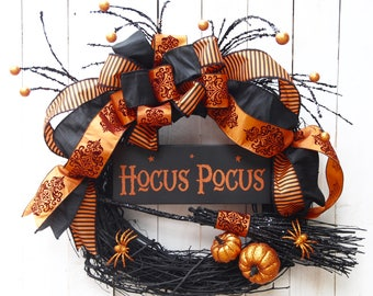 22in Hocus Pocus, Halloween Wreath, on 18in base, Sophisticated Witch, Halloween Decor, Witchy, Witch wreath, front Door wreath, Fall Decor,