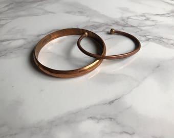 Pair of Copper Bracelets / Copper Bracelets / Copper Bangles