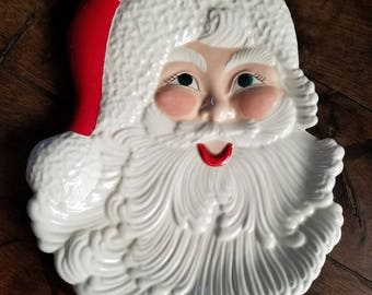 Vintage Large Santa Claus Cookie Platter/Santa Charger Wall Mount From Atlantic Mold Original C1960s Christmas Decorations