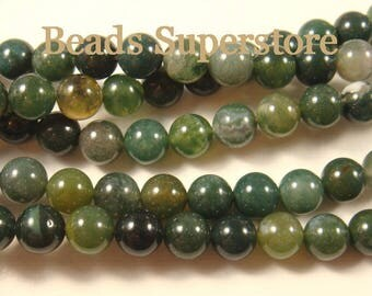 8 mm Moss Agate Semi-Precious Gemstone Round Bead - FULL Strand (GBR24)