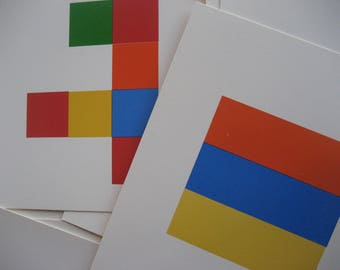 Design Cards, Art Cards,Developmental Learning Materials, for colored wood inch cubes, 30 colored flash cards, suitable for framing