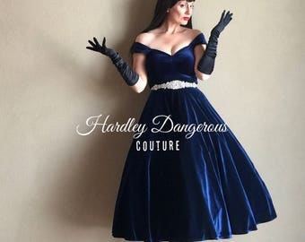 "Misses Mid Calf 43"" Midnight Navy BLUE Velvet Cherrybomb Multiway Dress by HARDLEY DANGEROUS Mod Bridesmaid Burlesque Pin Up Prom"