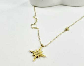 Gold North Star Jewelry .Scorpio Zodiac Sign Necklace November Birthday Gift gold Scorpio Zodiac Sign October Birthday  North Star jewelry