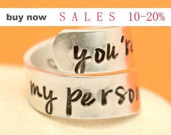 You are my Person Ring - Personalized Silver Band - Couples Ring - Relationship - Adjustable Aluminum Wrap Ring- Best Gift Ever