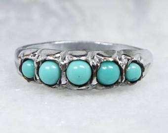 Vintage / Silver Tone 5 Turquoise Glass Cabochon Stacking Ring / Size L