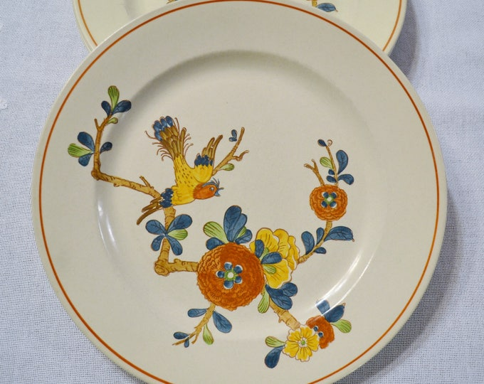 Vintage Metlox Old Cathay Dinner Plate Set of 3 Vernon Ware Floral Bird Retro Kitchenware Asian Theme California Pottery PanchosPorch