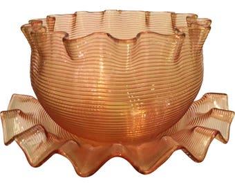 Rare Antique Venetian Threaded Glass Bowl & Plate - Orange