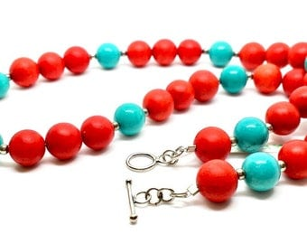 Natural Red Sponge Coral & Turquoise Necklace 925 Silver 18""