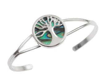 Tide Jewellery Paua Shell Tree Of Life Bangle Bracelet Gift Boxed