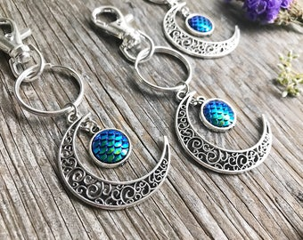 Mermaid Crescent Moon Key Chain, Purse Charm, Mermaid Scales, Moon Accessories, Gift, Boho, Moon Child, Siren, Gypsy, Bohemian, Gift