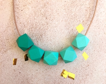 Green Hues  // Hand-Painted Wood Bead Necklace