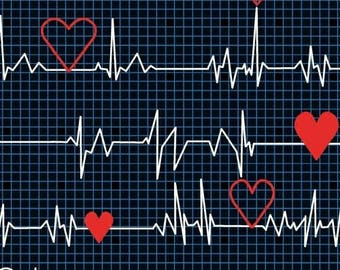 1/3 Yard REMNANT Calling All Nurses - Heart Beat EKG in Black - Cotton Quilt Fabric - Whistler Studios for Windham Fabrics 37302-1 (W449)