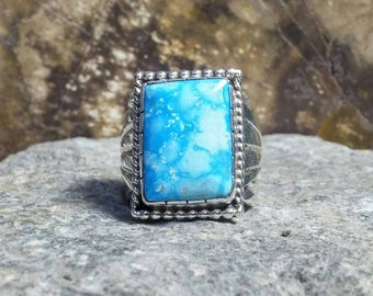 Mens Sterling Silver Ring; Kingman Turquoise , Handmade, Size 11.5