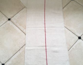 NS1555 Red Stripe Twill Natural Sandstone Vintage Linen Grainsack