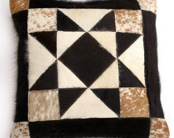 Natural Cowhide Luxurious Patchwork Hairon Cushion/pillow Cover (15''x 15'')a167
