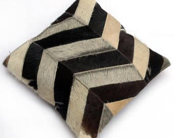 Natural Cowhide Luxurious Patchwork Hairon Cushion/pillow Cover (15''x 15'')a245