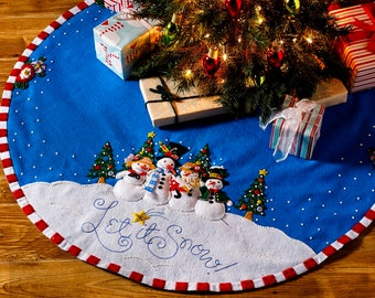 "Let It Snow ~ 43"" Bucilla Felt Christmas Tree Skirt Kit #86680"
