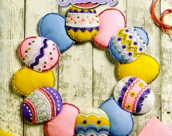 Bucilla Easter Egg Wreath Felt Wall Hanging Kit #86759, Decorated, New 2017