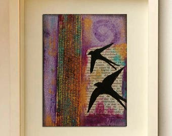 ACEO card Original ACEO Swallow card Miniature art Textured card Art and collectable ACEO bird Acrylic painting