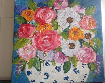 """Still life painting 12x12 """"Millie"""" white floater frame included"""