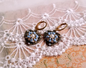 Shabby chic blue enamel flower earrings Heart filigree earrings Gift for her