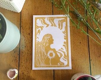 Sun Silhouette Lino Print