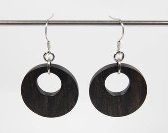 Ebony Earrings, Wooden Hoop Earrings, Creole Earrings, Wood Earrings, Wooden Dangle Earrings, Wooden Earrings, Wooden Drop Earrings