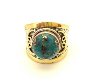 Ring Victorian Style Vintage Two Tone Silver 925 Gold Plated 14K Blue Turquoise Genuine