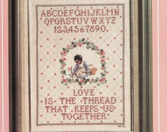 CROSS STITCH PATTERN - Love Is The Thread Sampler Counted Cross Stitch - Alphabet Sampler Cross Stitch