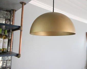 "14"" Brass Dome Pendant Light"