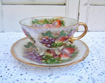 Vintage Japan Lusterware Iridescent China Footed Cup & Saucer Retro Fruit Pattern Teacup Saucer Set Tea Party