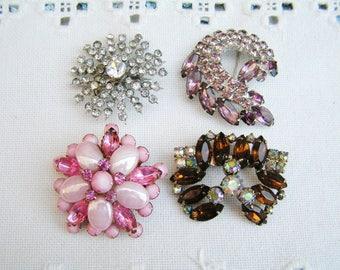 4 Vintage Retro DESTASH Gold Tone Flower Rhinstone Brooches Pins 1 Continental 1 Coro 2 Unsigned Vintage Lot Costume Jewelry