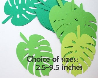 "Tropical Jungle Leaf Cutouts, Palm Leaf Luau Party Decoration, Leaf Die Cuts, 24 CT. , 2.5"" to 9.5"", Jungle Theme, Dinosaur Theme"
