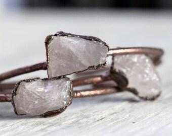 Rose Quartz Bracelet Stacking Bracelet Electroformed Bracelet Pink Crystal Bracelet Copper Bangle Electroformed Jewelry Copper Bracelet