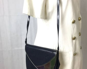 Van Dal blue leather clutch with strap bag