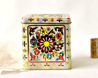 Vintage Tin  - Floral Square Hinged Box Daher Container Made in England - Embossed Litho Candy Tea Storage Canister