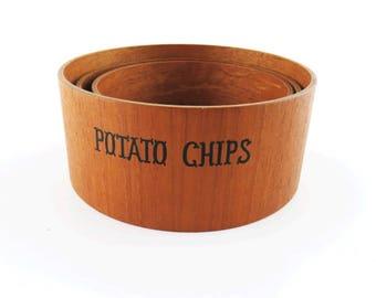 Mid Century Viking Hand Made Teak Wood Veneer Snack Bowl Set of 3 for Pretzels, Potato Chips and Peanuts