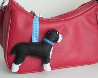 Handmade Spanish Water Dog felt bag charm