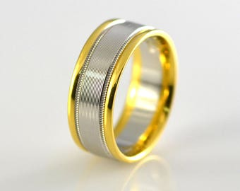 18k Yellow Gold and Platinum Two Tone Wedding Band Size 9