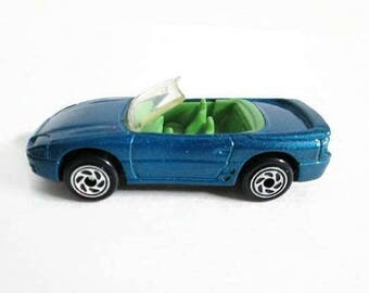 Mitsubishi 3000 GT Spyder Matchbox Car, Metallic Blue Convertible Car, Vintage Toy
