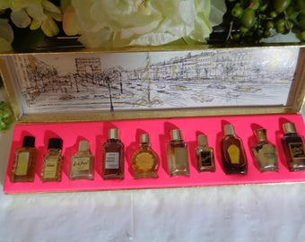 Parfums de France Miniature Collection of 10 French Parfum  Photo Display Decor Store Display