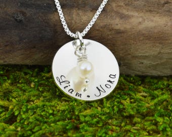 Hand Stamped Mothers Necklace • Personalized Pendant Necklace  • Custom Engraved Mom Jewelry