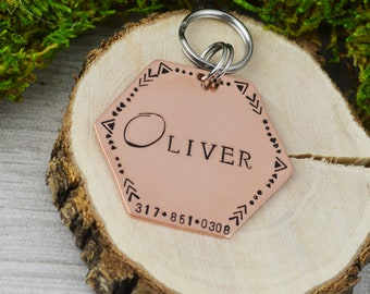 Hand Stamped Pet ID Tag - LARGE • Personalized Pet/Dog Tag • Dog Collar Name Tag • Custom Engraved Dog Tag
