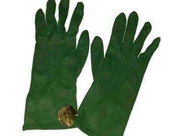 Mid Century Forest Green GLOVES 50s 60s St Patricks Day Fashion Vintage Rockabilly Gloves Wedding Bridesmaid Bridal Prom Sz 7 St Paddys Gift