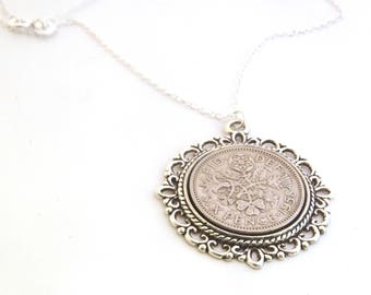 60th Anniversay Gift, Lucky Sixpence Pendant, 1958 Jewelry Gift, 60th Birthday Gift, 60th Birthday Ideas, 60th birthday gifts for women