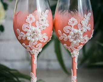 8% OFF Personalized Wedding Wine Glasses, Blush Toasting Glasses, Bride and Groom Toasting Flutes, Lace Wedding Glasses with Rhinestone , 2