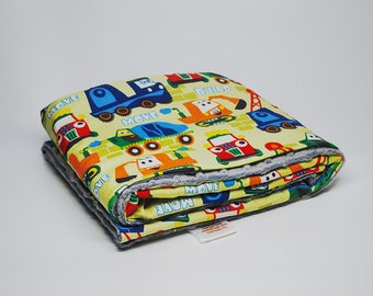 Blue Minky Baby Blanket - Minky Baby Blanket - Blue Baby Blanket - Trucks Baby Blanket - Gray Minky Blanket - Boy's Baby Gift - Baby Shower
