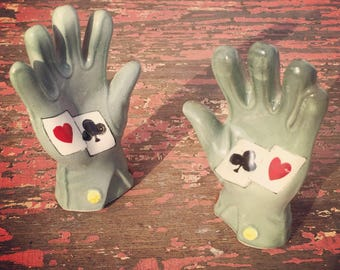FREE SHIPPING on these very unique Mid Century Poker Hands Salt and Pepper Shakers. Occupied Japan.