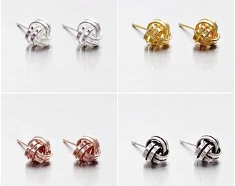 925 Sterling Silver Earrings, Knot Earrings, Stud Earrings, Gold Plated, Rose Gold Plated, Oxidized Earrings, Size 6 mm (Code : E37C)